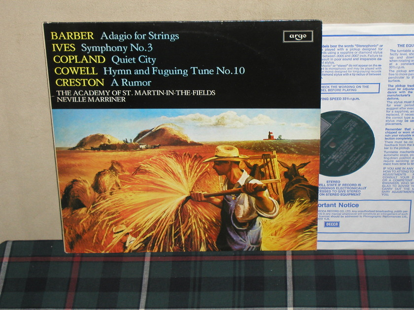 Marriner/AoStMitF - Barber/Ives Adagio For Strings UK Argo/Decca ZRG-845