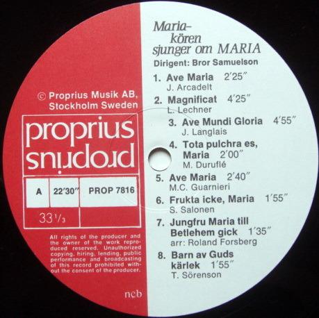 ★Audiophile★ Proprius / SAMUELSON, - Maria-koren sjungern om MARIA, NM!