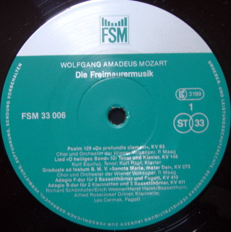 ★Audiophile★ FSM / MAAG, - Mozart Freimaurer Musik, MINT, 2 LP Set!