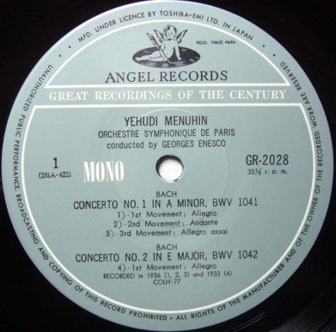 ★Audiophile★ Toshiba EMI / MENUHIN-ENESCO, - Bach Violin Concertos, MINT!