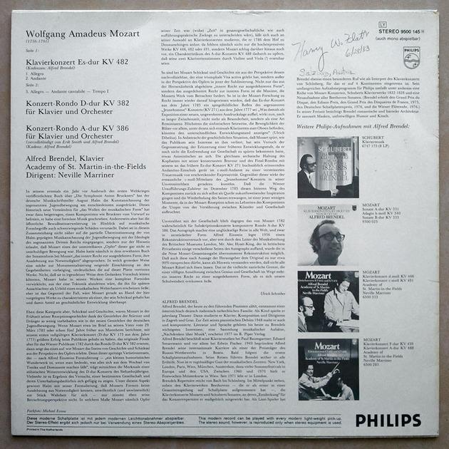 PHILIPS | BRENDEL/MOZART - Piano Concerto in E Flat K. 482, Rondos K. 382 & K. 386 / NM