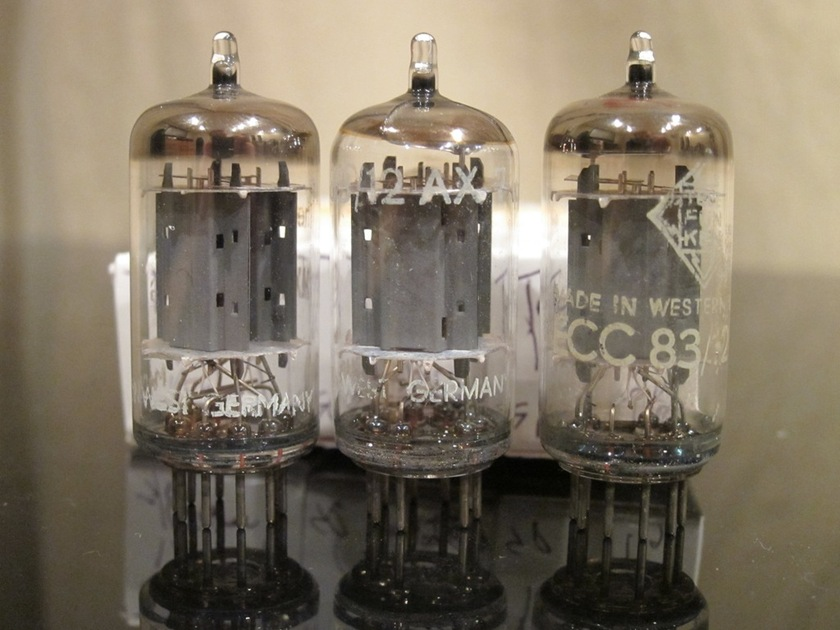 Telefunken West Germany 12AX7/ECC83 Smooth Plate Halo Getter Matched Trio test excellent