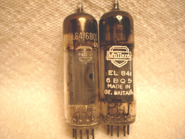 Mullard EL84/6BQ5 square getter tested matched pair