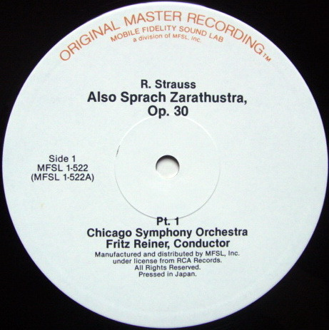 ★Audiophile★ MFSL / REINER, - R. Strauss Also Sprach Zarathustra, NM!