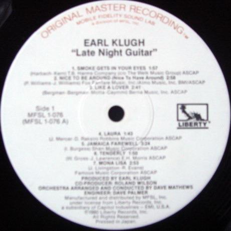 ★Audiophile★ MFSL / EARL KLUGH, - Late Night Guitar, NM-!