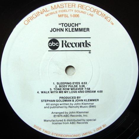★Audiophile★ MFSL / JOHN KLEMMER, - Touch, NM-!