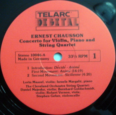★Audiophile★ Telarc / MAAZEL, - Chausson Concerto for Piano, VIolin & String Quartet,  MINT!