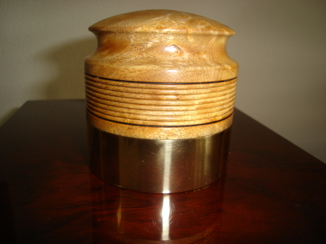 Waipuna Sound 2 lb record weight myrtle burl and brass