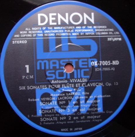 ★Audiophile★ Denon PCM / LARRIEU, - Vivaldi Six Sonatas for Flute, MINT!