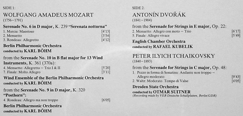 DG   Festival Serenade - Mozart, - Dvorak, Tchaikovsky / NM