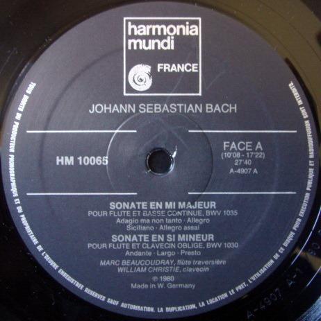 ★Audiophile★ Harmonia Mundi / BEAUCOUDRAY-CHRISTIE, - Bach Sonatas for Flute, NM!