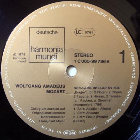 ★Audiophile★ Harmonia Mundi / COLLEGIUM AUREUM, - Mozart Symphonies No.38 & 39, NM!
