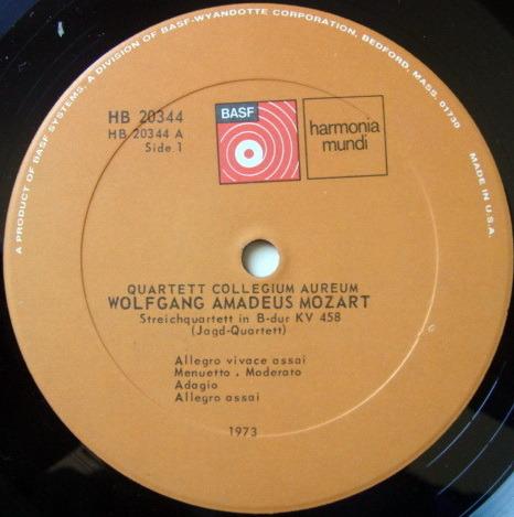 ★Audiophile★ Harmonia Mundi / COLLEGIUM AUREUM QUARTET, - Mozart String Quartets KV.458 & 465, NM!