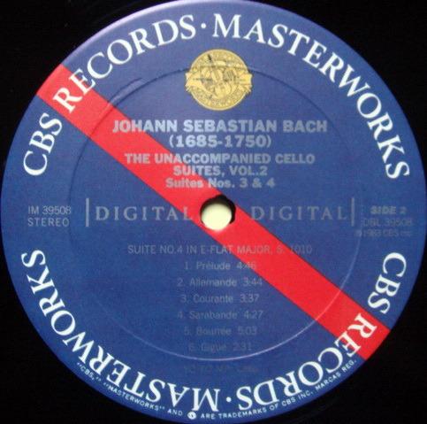 CBS Digital / YO-YO MA, - Bach The Unaccompanied Cello Suite No.3 & 4, MINT!