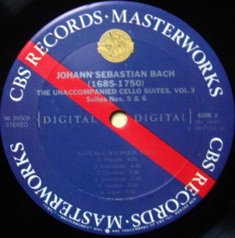 CBS Digital / YO-YO MA, - Bach The Unaccompanied Cello Suite No.5 & 6, MINT!