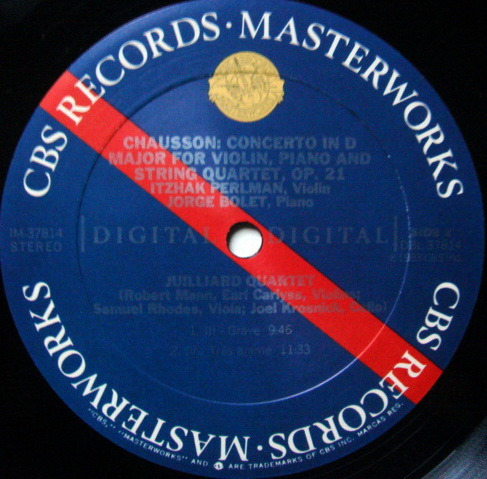 CBS Digital / JUILLIARD QT-PERLMAN,, - Chausson Concerto for Violin, Piano & String Quartet, MINT!