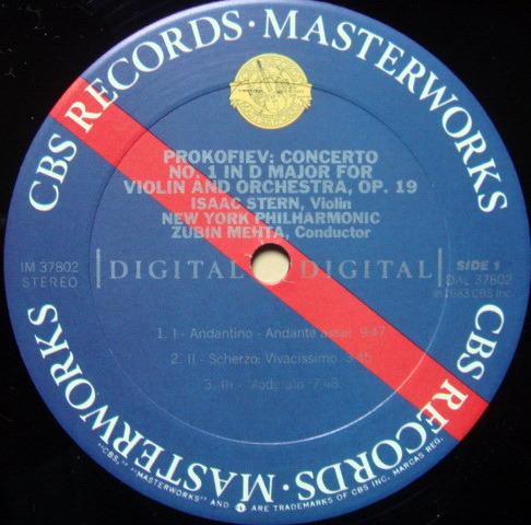 CBS Digital / STERN-MEHTA, - Prokofiev violin concertos No.1 & 2, NM!