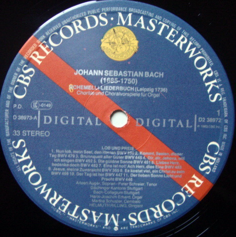 CBS Digital / RILLING, - Bach Schemelli Song Book, MINT, 2LP Promo Box Set!