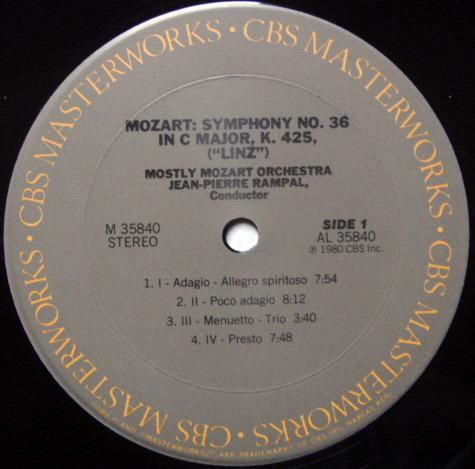CBS / RAMPAL, - Mozart Symphonies No.36 & 38, MINT!