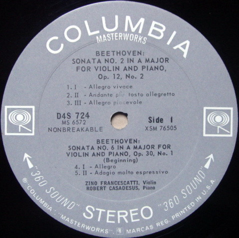 Columbia 2-EYE / FRANCESCATTI-CASADESUS, - Beethoven Violin Sonatas No.2, 6 & 5, NM-!