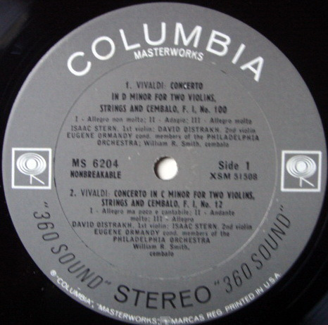 Columbia 2-EYE / OISTRAKH-STERN-ORMANDY, - Vivaldi Concertos for Two Violins, NM!