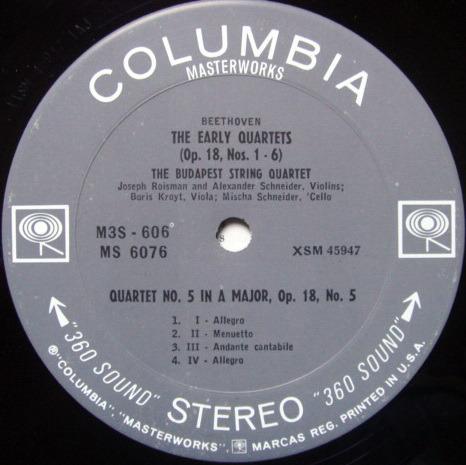 Columbia 2-EYE / BUDAPEST QT, - Beethoven String Quartet No.5 & 6, MINT!