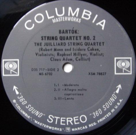 Columbia 2-EYE / JUILLIARD QT, - Bartok String Qartets No.1 & 2, NM-!