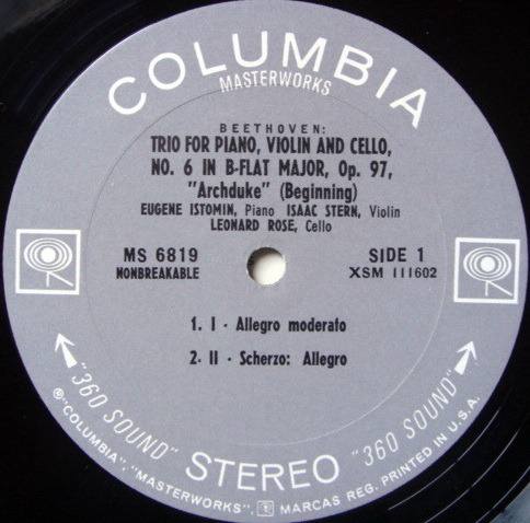 Columbia 2-EYE/ STERN-ROSE-ISTOMIN TRIO, - Beethoven Archduke Trio,  MINT!