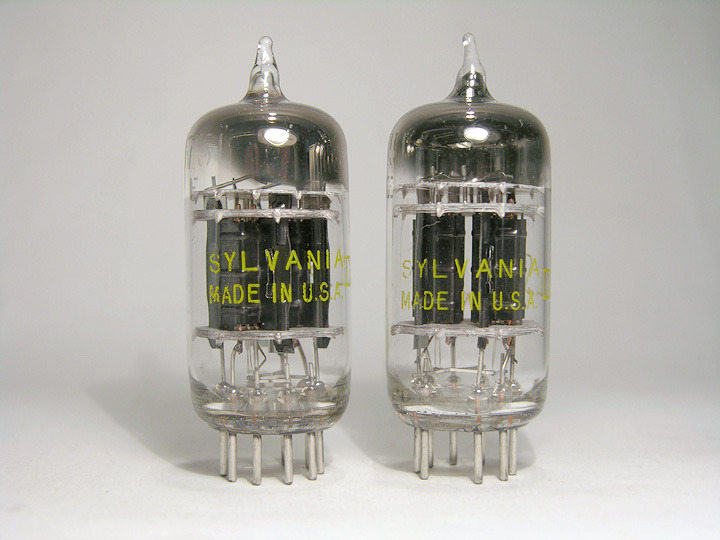 Sylvania 5751 / 12AX7 / ECC83 1957 triple-mica black plate pair brand new in Swedish military aluminum tubes
