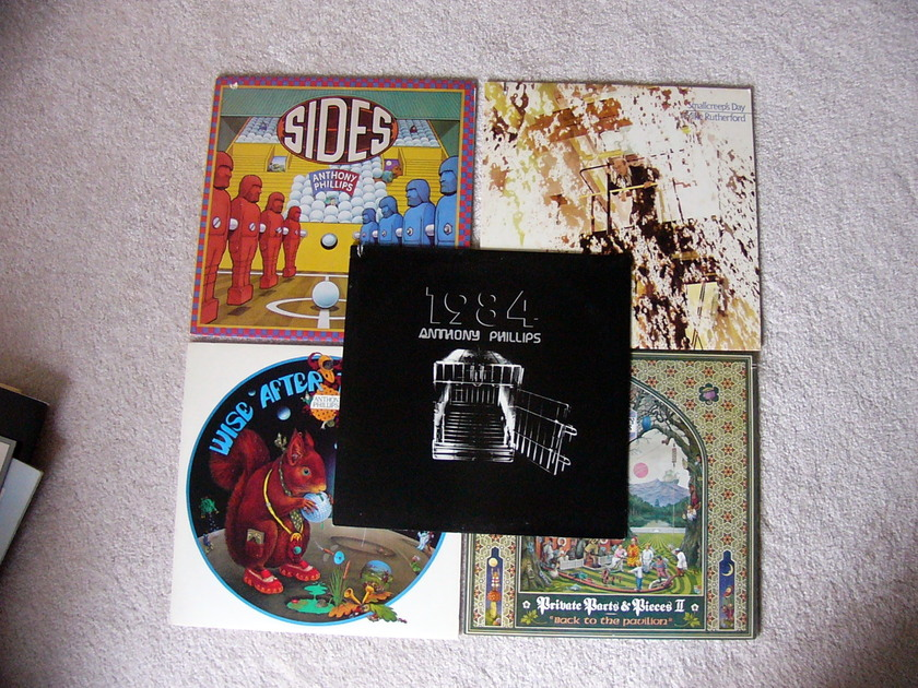 Lot of Five Anthony Phillips (from Genesis) Albums - Sides, 1984. Private Parts/Pieces II, Wise After the Event, and The Geese and the Ghost.   Bonus - Mike Rutherford and Steve Hackett LP's