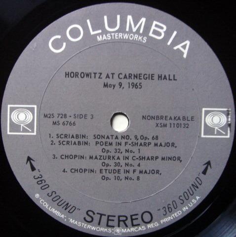 Columbia 2-EYE / VLADIMIR HOROWITZ  - HOROWITZ at Carnegie Hall, NM-, 2 LP Set!