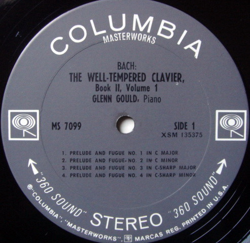 Columbia 2-EYE / GLENN GOULD, - Bach Well-Tempered Clavier Book 2, NM-!