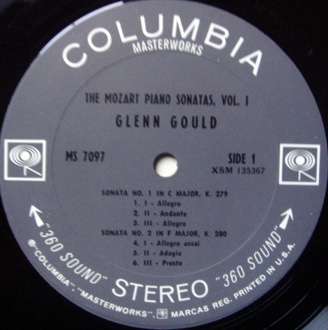 Columbia 2-EYE / GLENN GOULD, - Mozart Piano Sonatas No.1-5, NM-!