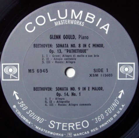 Columbia 2-EYE / GLENN GOULD, - Beethoven Piano Sonatas No.8-10, EX!