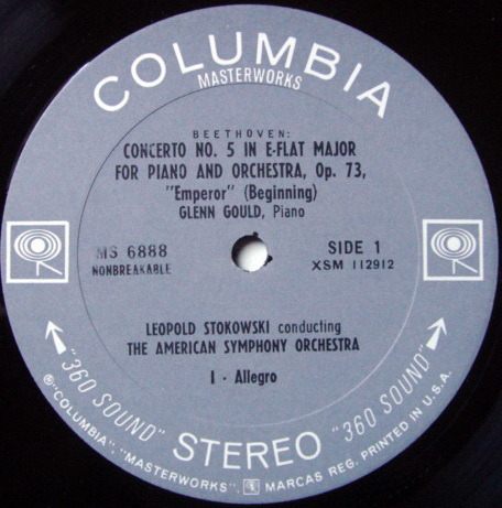 Columbia 2-EYE / GLENN GOULD-STOKOWSKI, - Beethoven Piano Concerto No.5 Emperor, EX!