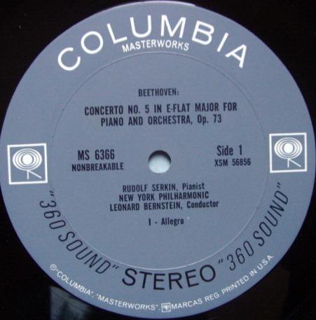 Columbia 2-EYE / SERKIN-BERNSTEIN, - Beethoven Piano Concerto No.5 Emperor, NM-!