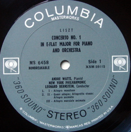 Columbia 2-EYE / ANDRE WATTS Debut Album, - Liszt Piano Concerto No.1, EX!