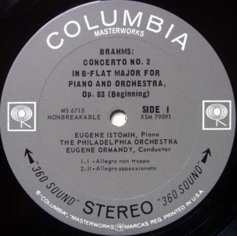 Columbia 2-EYE / ISTOMIN-ORMANDY, - Brhams Piano Concerto No.2, MINT!