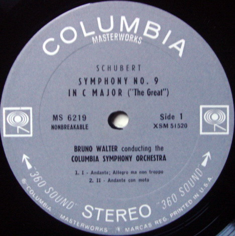 Columbia 2-EYE /, BRUNO WALTER, - Schubert Symphony No.9 The Great, NM!