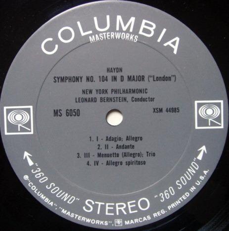 Columbia 2-EYE / LEONARD BERNSTEIN, - Mendelssohn Italian, Haydn London Symphonies,  EX!
