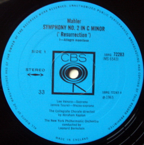 Columbia UK Press / LEONARD BERNSTEIN,  - Malher Symphony No.2 Resurrection, MINT, 2LP Set!