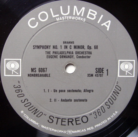 Columbia 2-EYE / EUGENE ORMANDY, - Brahms Symphony No.1, EX!