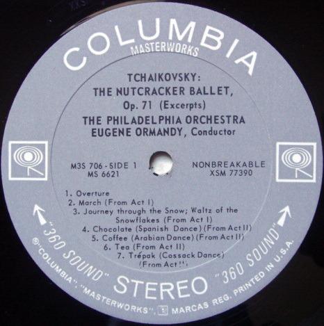Columbia 2-EYE / EUGENE ORMANDY, - Tchaikovsky Nutcracker Suite, NM!