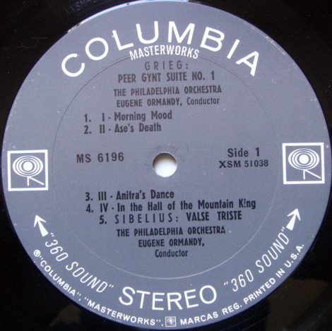 Columbia 2-EYE / EUGENE ORMANDY, - Sibelius Finlandia, Grieg Peer Gynt Suite,  NM!