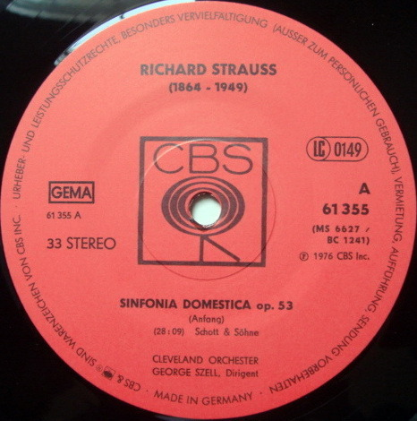 Columbia Germany / GEORGE SZELL, - R. Strauss Sinfonia Domestica, NM!