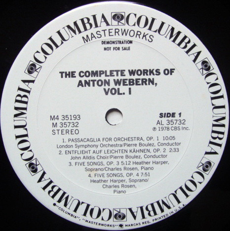 Columbia / BOULEZ, - The Complete Works of Webern Vol.1, NM, 4LP White Promo Box Set!