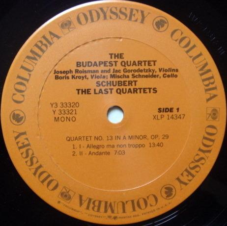 Columbia Odyssey / BUDAPEST QT, - Schubert The Late Quartets, NM, 3LP Box Set!