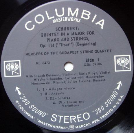 Columbia 2-EYE / BUDAPEST QT, - Schubert Trout Quintet, NM!