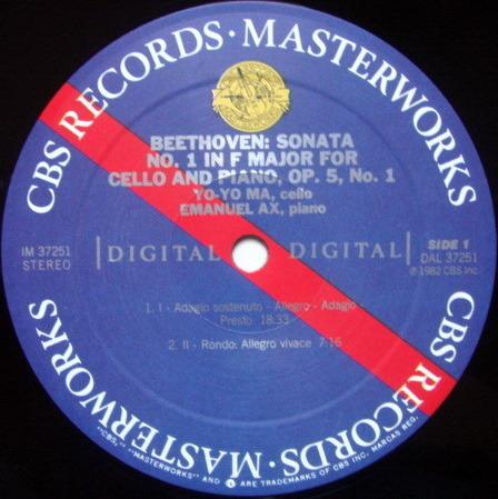 CBS Digital / YO-YO MA-AZ, - Beethoven Cello Sonatas No.1 & 2, NM!