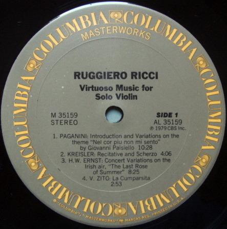 Columbia / RUGGIERO RICCI, - Virtuoso Music for Solo Violin, NM, Promo Copy!